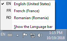 Switch the keyboard input languages using the language bar in Windows 7