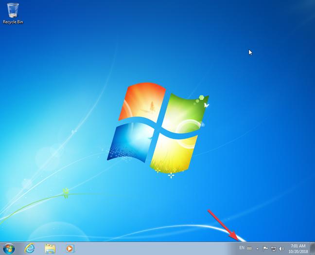 Language bar docked on the taskbar from Windows 7