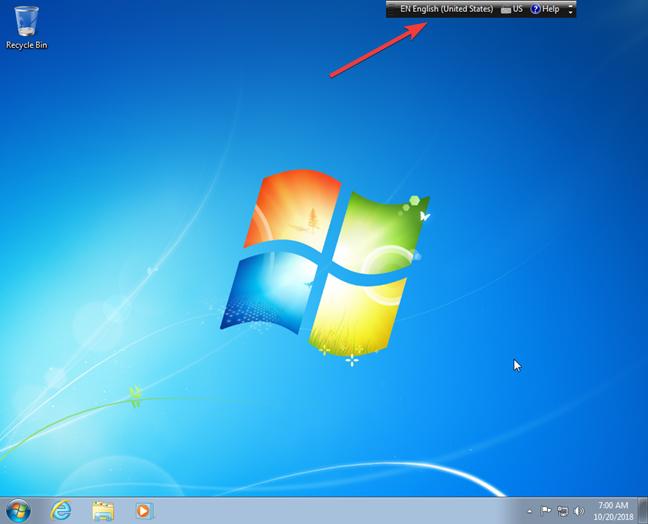 Floating language bar on Windows 7 desktop