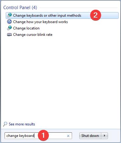 Search for change keyboard in Windows 7