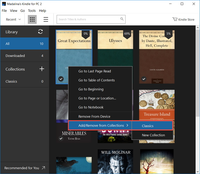 Windows 10, Kindle, app