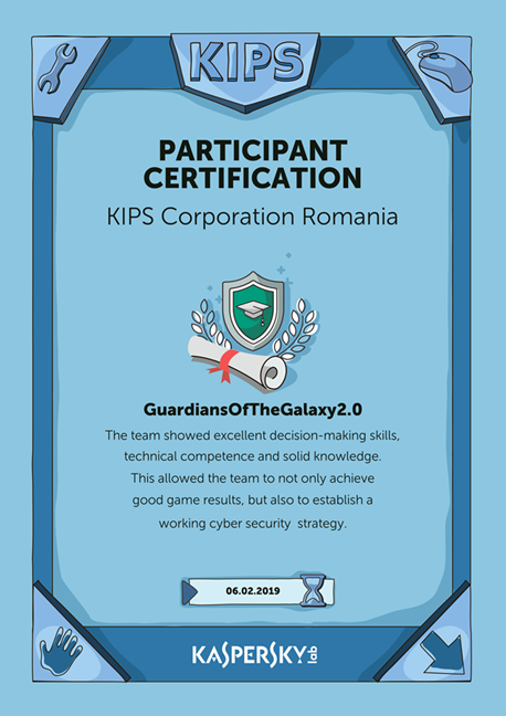 Participant certification for Kaspersky Interactive Protection Simulation