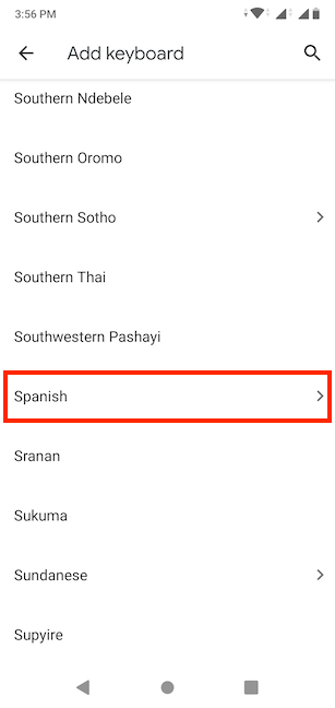Select the language you want to use for your keyboard