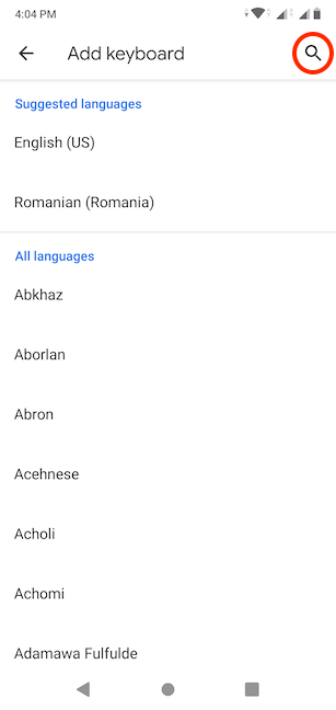 Search for the language you want to use
