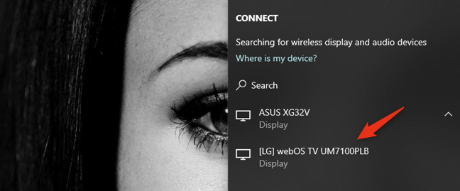 Selecting the wireless display to connect to
