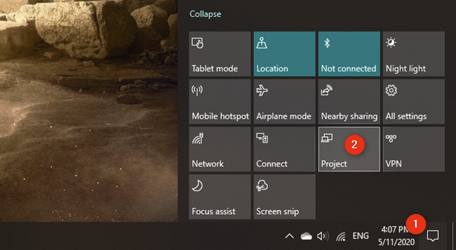 The Project quick action from Windows 10's notifications panel
