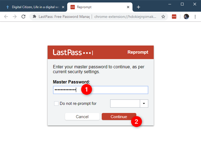Confirming your identity by reentering your LastPass password