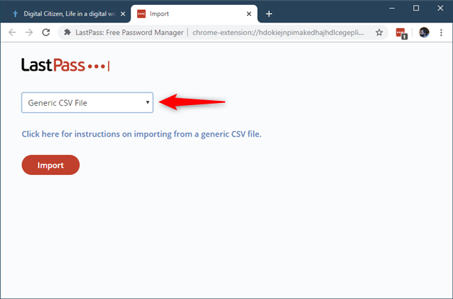 Choosing to import passwords from a CSV file
