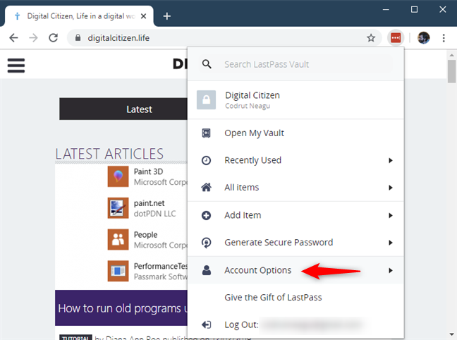 The Account Options from LastPass