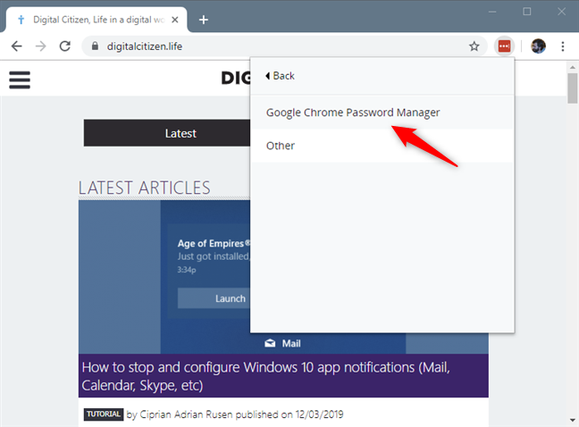 Choosing to import passwords from Google Chrome Password Manager