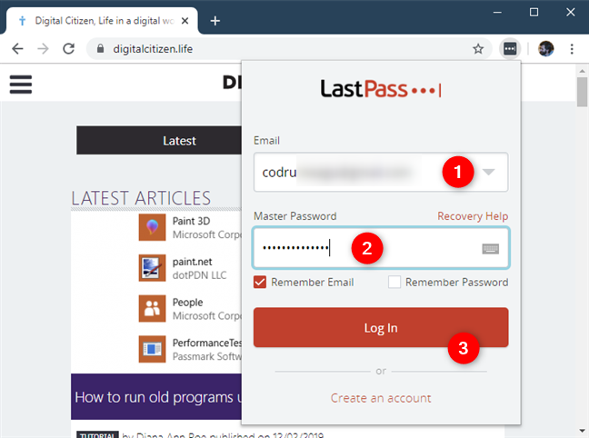 Entering the LastPass credentials
