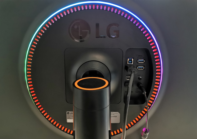 The back of the LG 34GK950G ultra-wide gaming monitor
