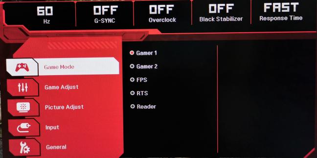 The OSD menu on the LG 34GK950G