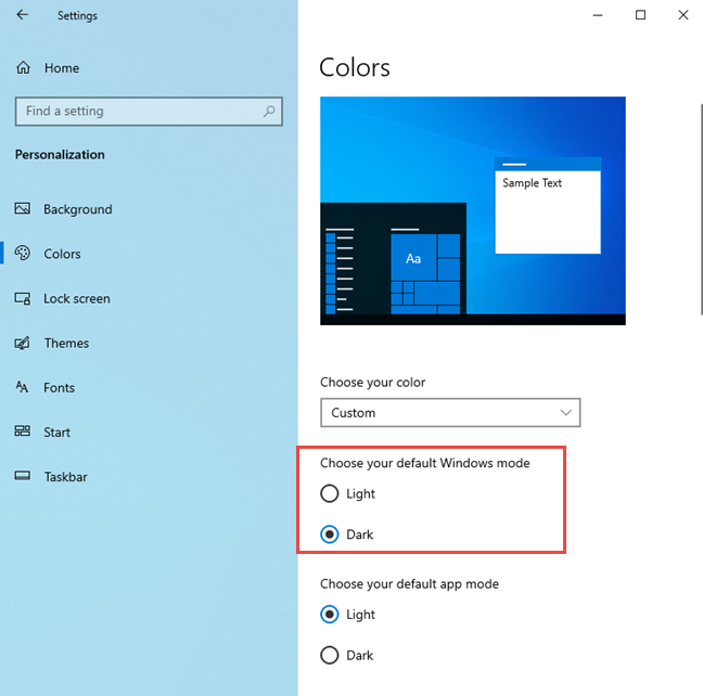 Disabling the Light Mode in Windows 10