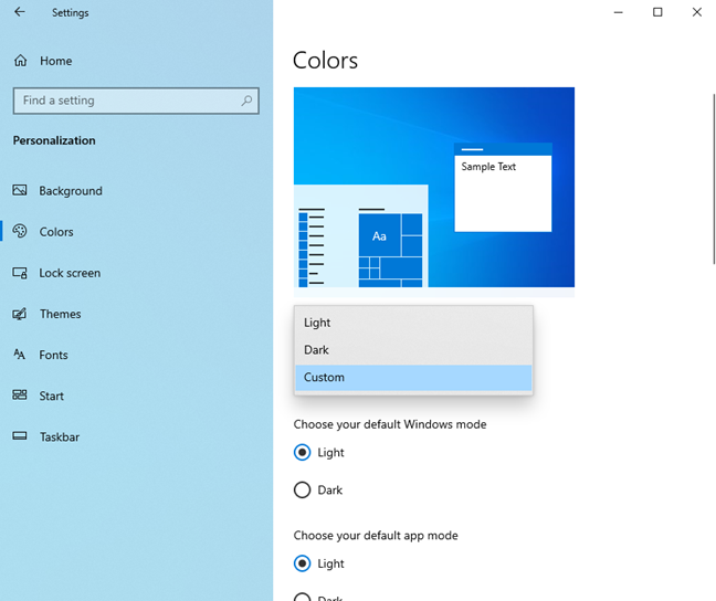 Enabling the Light Mode in Windows 10