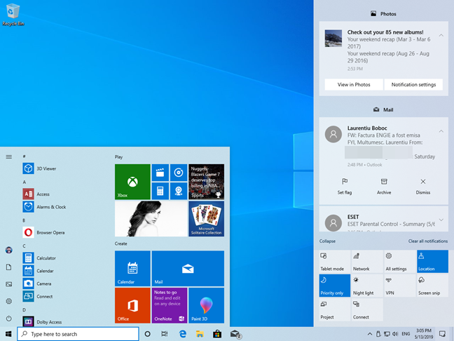 The Windows 10 Start Menu and Action Center, in Light Mode