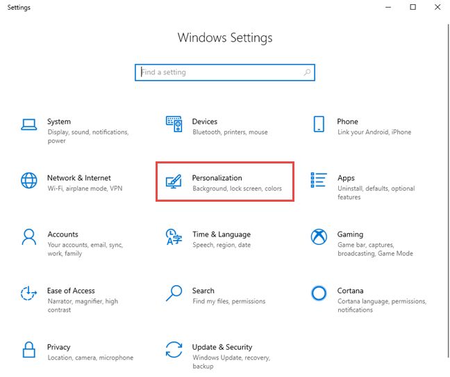 The Settings app in Windows 10