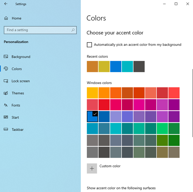 Setting the accent color used by Windows 10