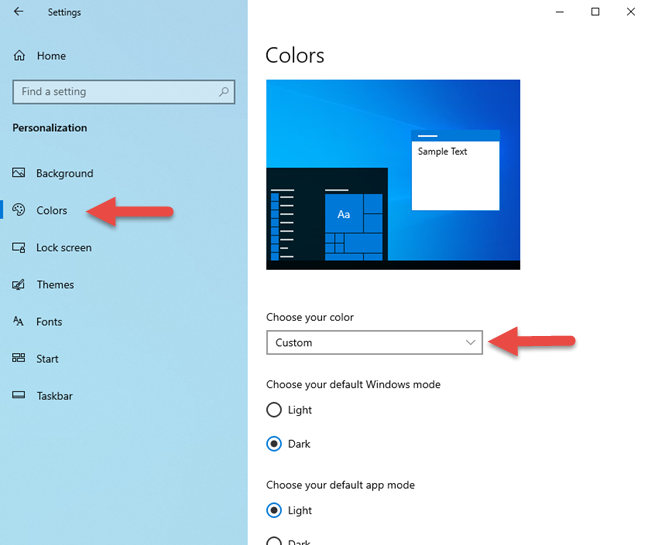 The colors used in Windows 10