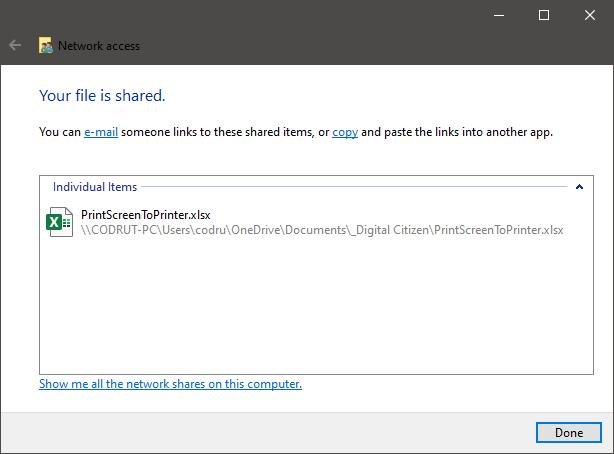 El asistente para compartir de Windows 10