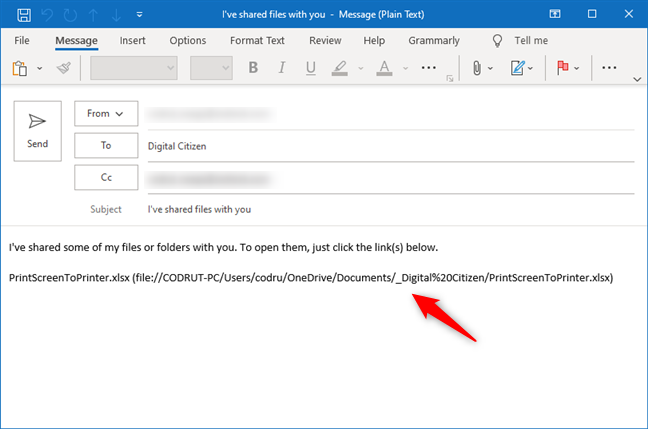 Sending an email with the shared file link