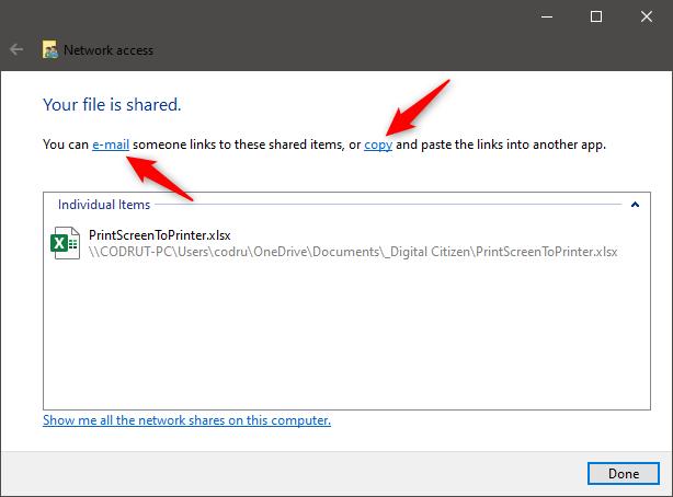 Los enlaces de correo electrónico y copia del último paso del asistente para compartir
