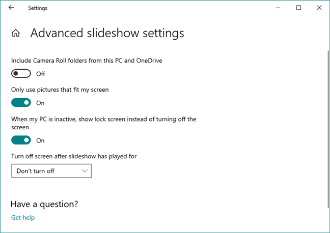 Advanced slideshow settings