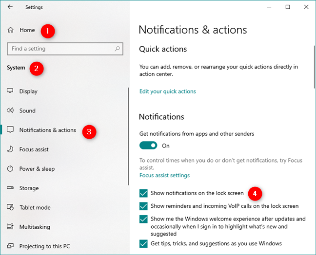 The Notifications & actions page from the Settings app