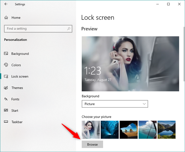 Choose your picture or browse for others, in Windows 10