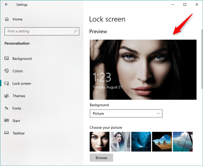 The Preview of the Windows 10 Lock Screen