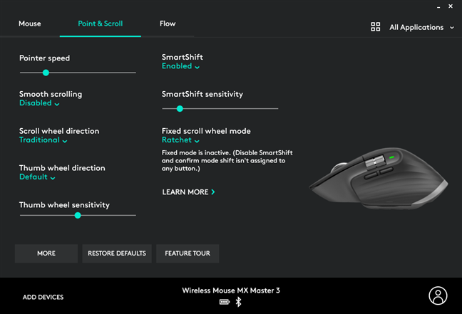 The settings available in the Logitech Options software