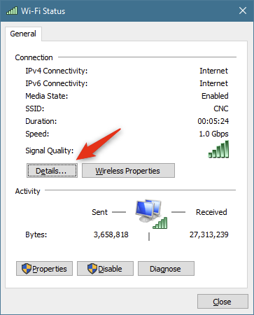 The Details button from the network connection's Status window