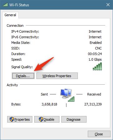 El botón Detalles de la ventana de estado de la conexión de red