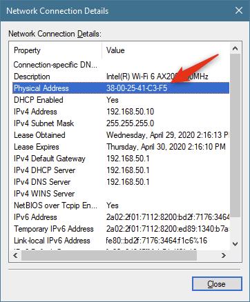 La dirección física es la dirección MAC del adaptador de red