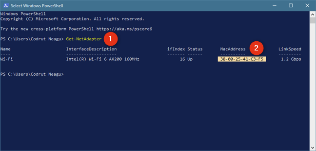 Identify the MAC address with the Get-NetAdapter command in PowerShell
