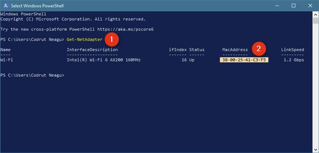 Identifique la dirección MAC con el comando Get-NetAdapter en PowerShell