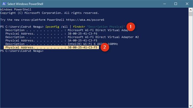 Obtenga solo direcciones MAC, con el comando: ipconfig / all |  findtr & quot; Descripción Física & quot;