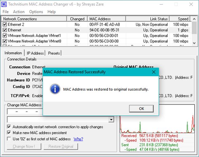 Resetting the MAC address in Windows