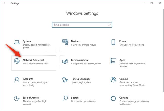 Red & amp;  Internet en la configuración de Windows 10