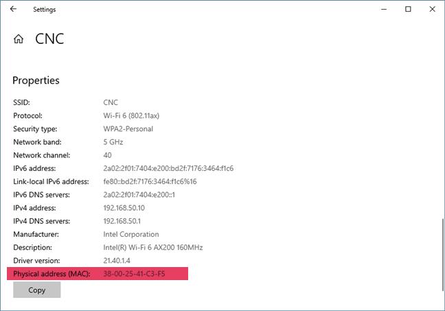 La dirección física (MAC) del adaptador de red