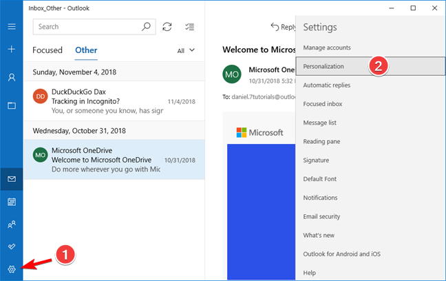 Open Personalization settings in the Mail app for Windows 10