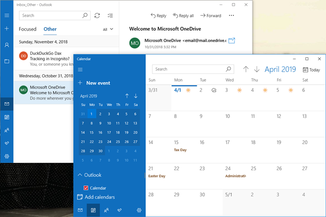 The Mail and Calendar apps in Windows 10