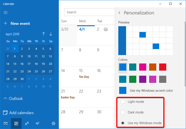 The light and dark mode options in the Calendar app settings