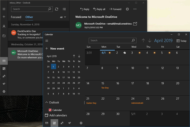 The dark mode for the Mail and Calendar apps in Windows 10