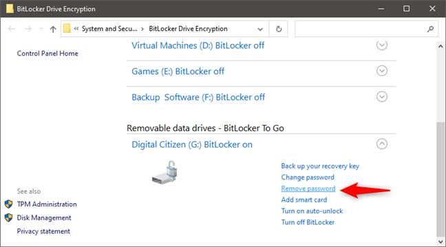 Quitar la contraseña de BitLocker