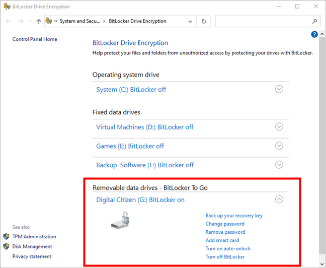 The list of BitLocker management options available for a USB memory stick