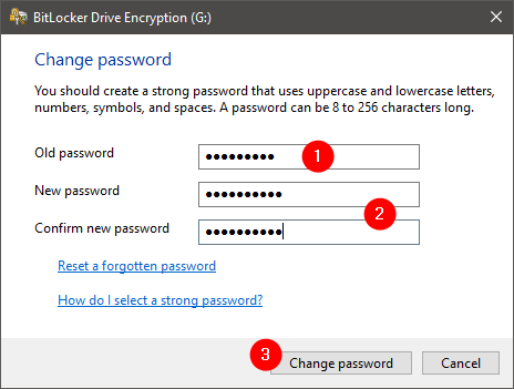 Changing the BitLocker password of an encrypted USB memory stick