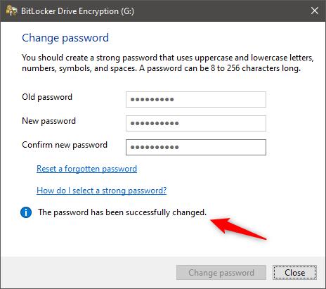 Se cambió la contraseña de BitLocker