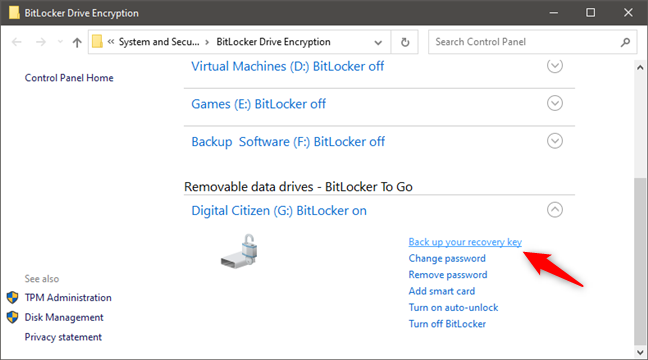 BitLocker: Back up your recovery key