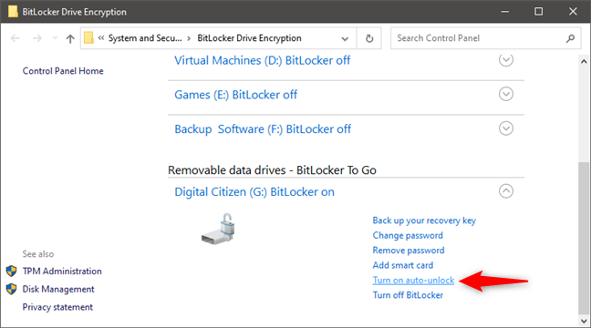 Turn on auto-unlock for a BitLocker-encrypted drive